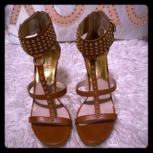Gently Used Michael Kors Studded Sandals Camel 6.5